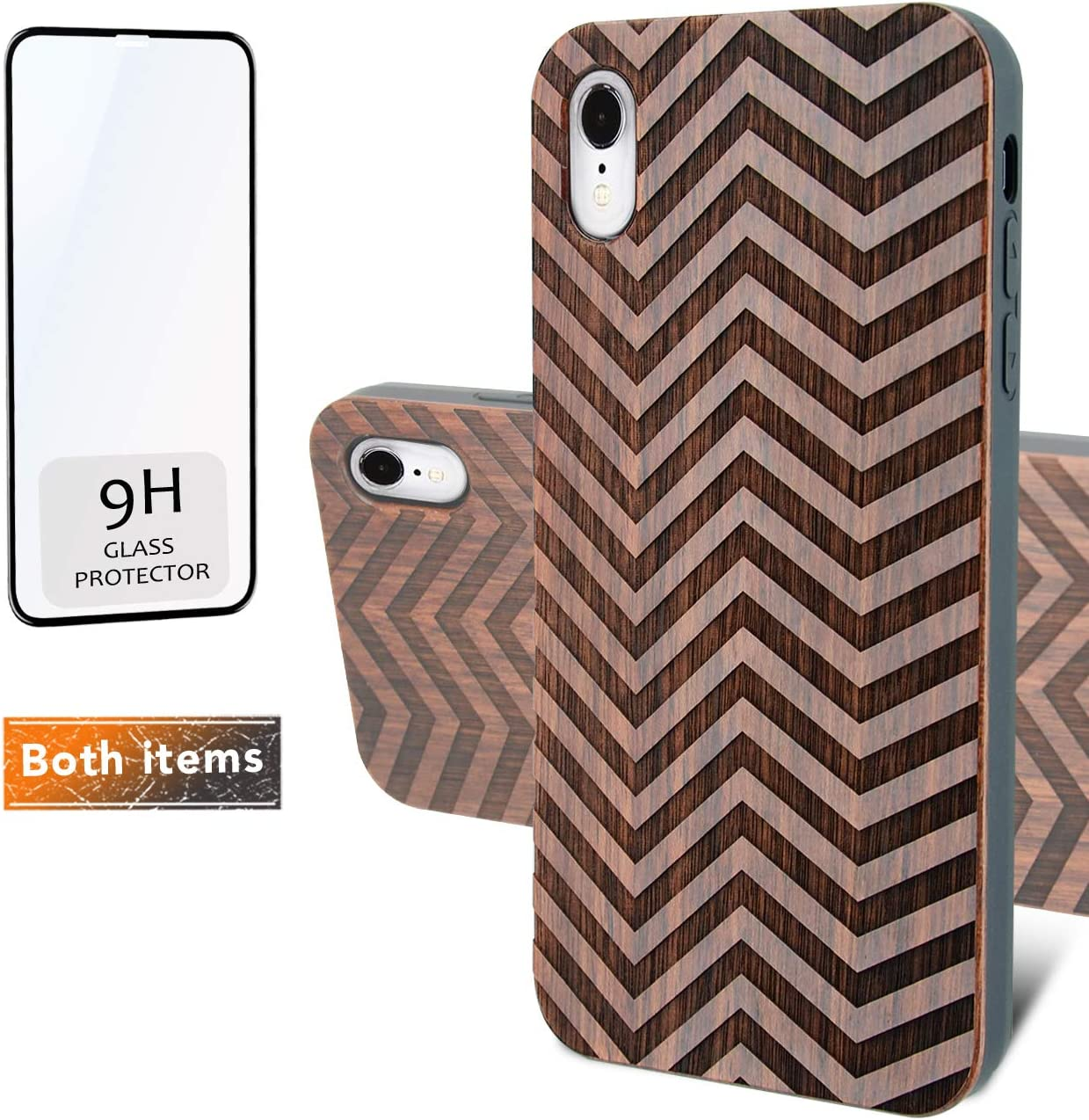 iProductsUS Geometric Wood Phone Case Compatible with iPhone XR and Screen Protector, Engraved Strips Dark Wood, Built-in Metal Plate,Compatible Wireless Charging,TPU Shockproof Cover (6.1 inch)