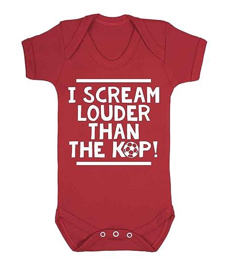I scream Louder entonces el Kop Liverpool chaleco de bebé Pelele Babygrow Liverpool fútbol ventilador Novelty