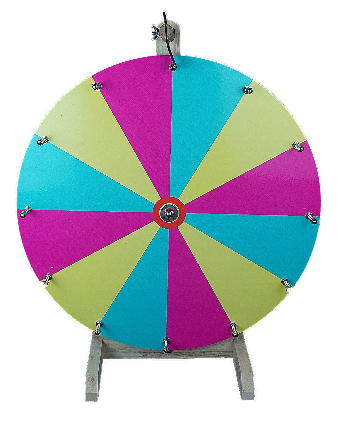 20'' Tabletop Color Dry Erase Prize Wheel, Spinning Board w/ 12 Slots and Wood Stand