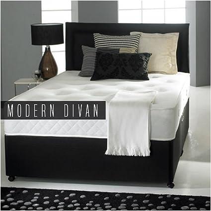 Cama estilo diván con colchón ortopédico, cabecero y 2 cajones, negro, Doublé