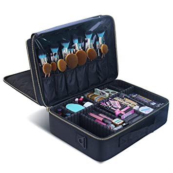 6cec8cfb23 Amazon.com   MONSTINA Cosmetic Bags 3 Layer Cosmetic Organizer Makeup Case  Beauty Artist Storage Brush Box with Shoulder Strap(LBlack)   Beauty