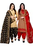 Rajnandini Women's Beige And Light Brown Cotton Printed Dress Material(Combo Of 2)(710-1008_Beige And Light Brown_Free Size)