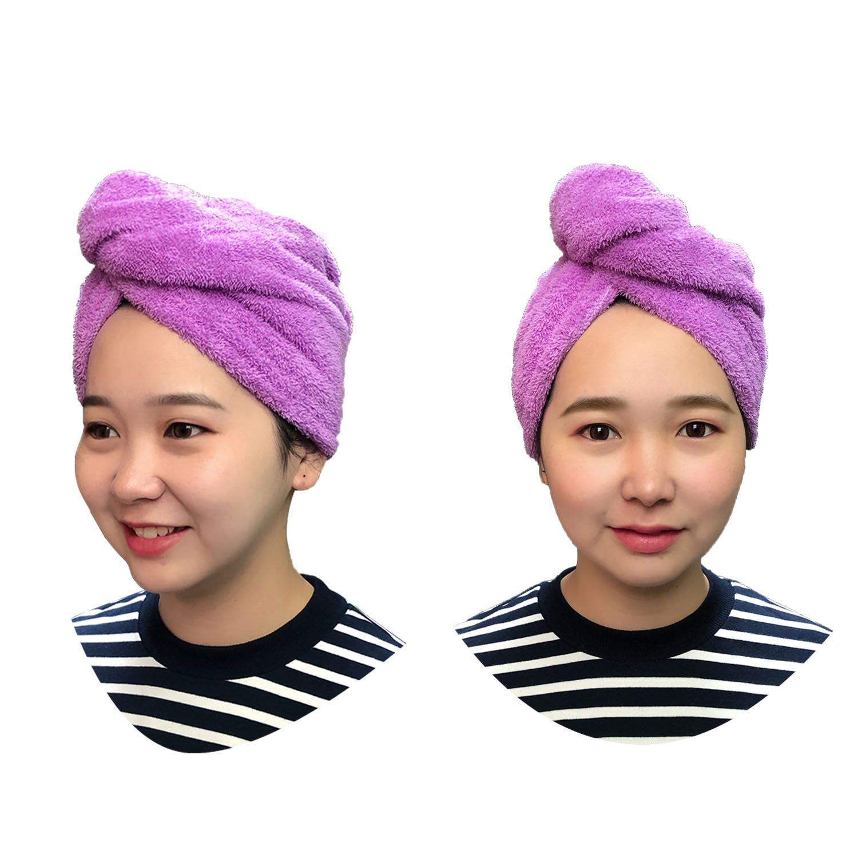Haar Turban - Mikrofaser Haarturban für die Haare mit Knopfverschluss Duschtücher Handtücher Trocken Handtuch Anti-Frizz Lightweight Haartrockentuch für Frauen Lila(2 Stück) XT LTD.