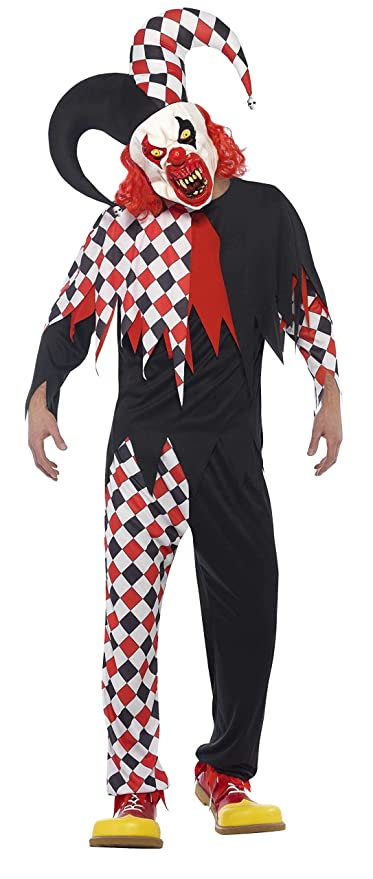 Smiffys Disfraz de bufón Loco, Negro y Rojo, con Parte de ...