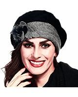 Retro Women Floral Trimmed Wool Blend Cloche Winter Hat