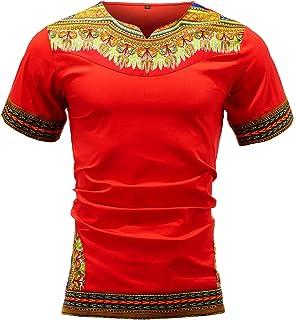 Luxfan 2019 Mens Summer Short Sleeve Boho Printed Stripe Button Down Shirt