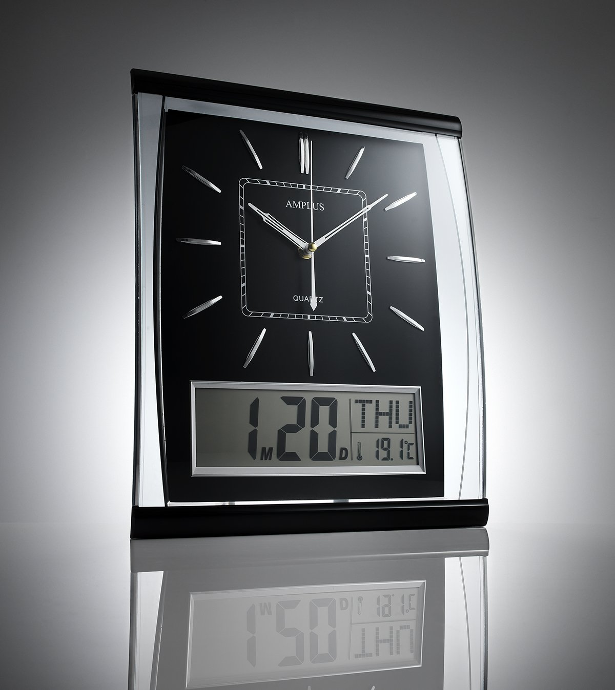 Kg homewares silent wall clock digital large jumbo display black kg homewares silent wall clock digital large jumbo display black amazon kitchen home amipublicfo Image collections