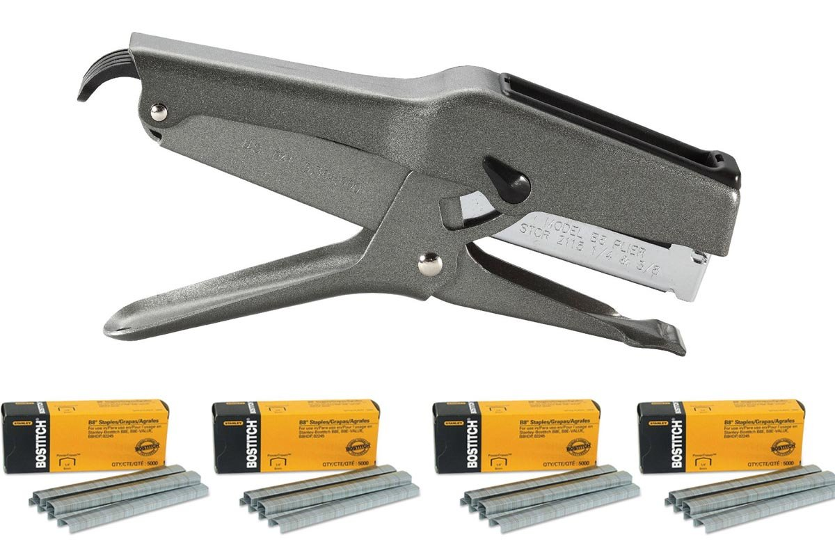 """Stanley Bostitch B8 Heavy Duty Plier Stapler (Gray) with 4 Boxes of 1/4"""" Staples"""