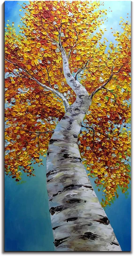 Yotree Paintings, 24×48 Inch Paintings Oil Hand Painting Yellow Birch in Autumn Painting 3D Hand-Painted On Canvas Abstract Artwork Art Wood Inside Framed Hanging Wall Decoration Abstract Painting