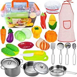 FUNERICA Pretend Play Kitchen Accessories with Stainless Steel Pots and Pans Set, Kitchen Utensils, Cutting Vegetables, Knife, Kids Apron & Chef Hat, Storage Container, for Toddlers, Boys and Girls