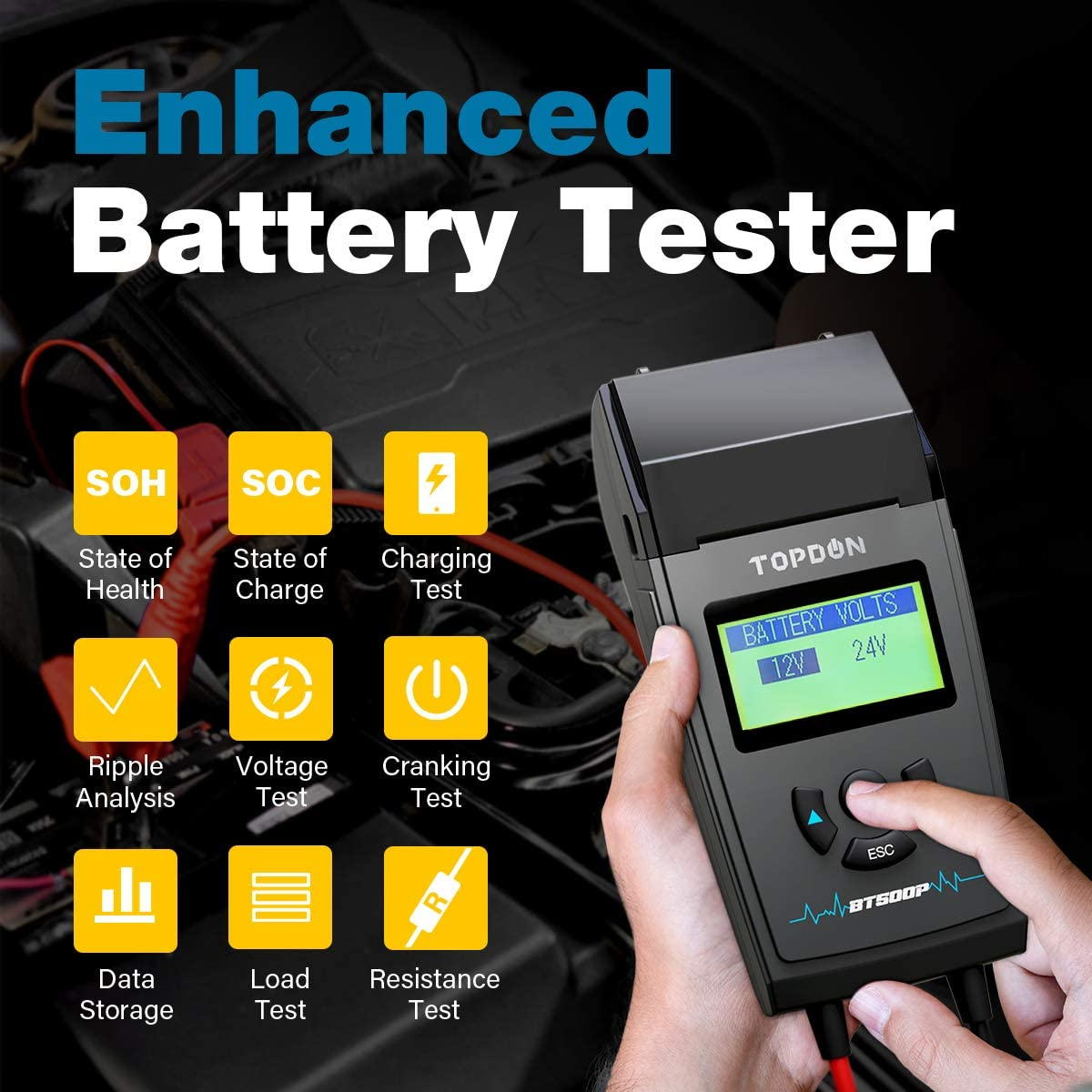 Automotive Alternator Tester for Car Motorcycle Motorboat Truck Car Battery Tester with Printer Cranking and Charging System Battery Analyzer TOPDON BT500P 12V//24V 100-1700 CCA Battery Load Tester