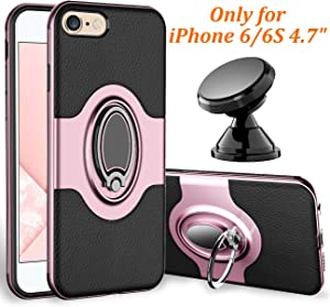 eSamcore iPhone 6S Case, iPhone 6 Case Ring Holder Kickstand Cases + Magnetic Phone Car Mount for Apple iPhone 6 6S 4.7 Inch [Rose Gold]