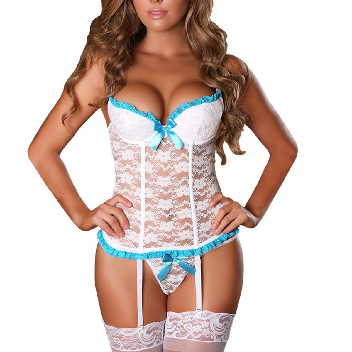 EVAbaby Plus Size Sexy Corset Lingerie Set Women Sex Exotic Wedding Garter Belt Floral Lace Sleepwear White S