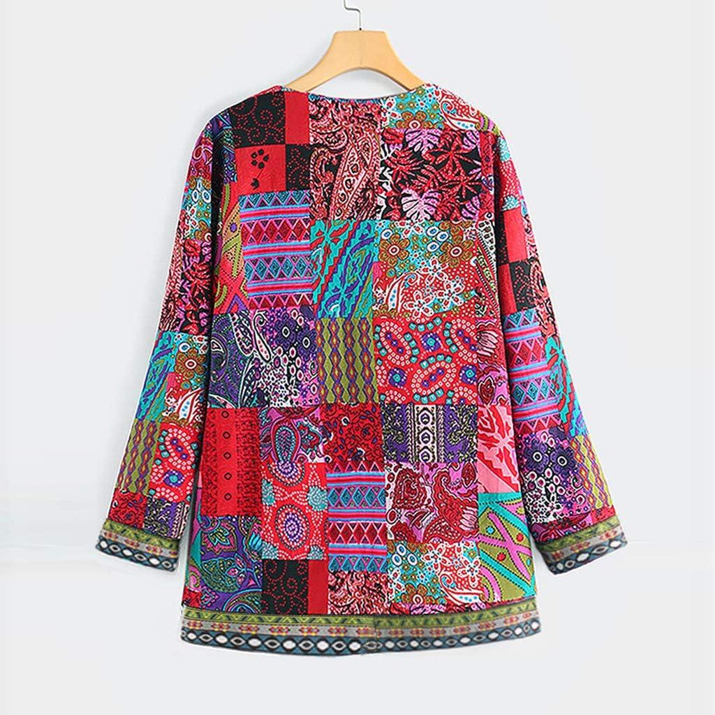 Womens Casual Long Sleeve Fashion Ethnic Style Print Cardigan Jacket