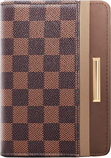 Brushed Plaid Leather Checkbook Cover