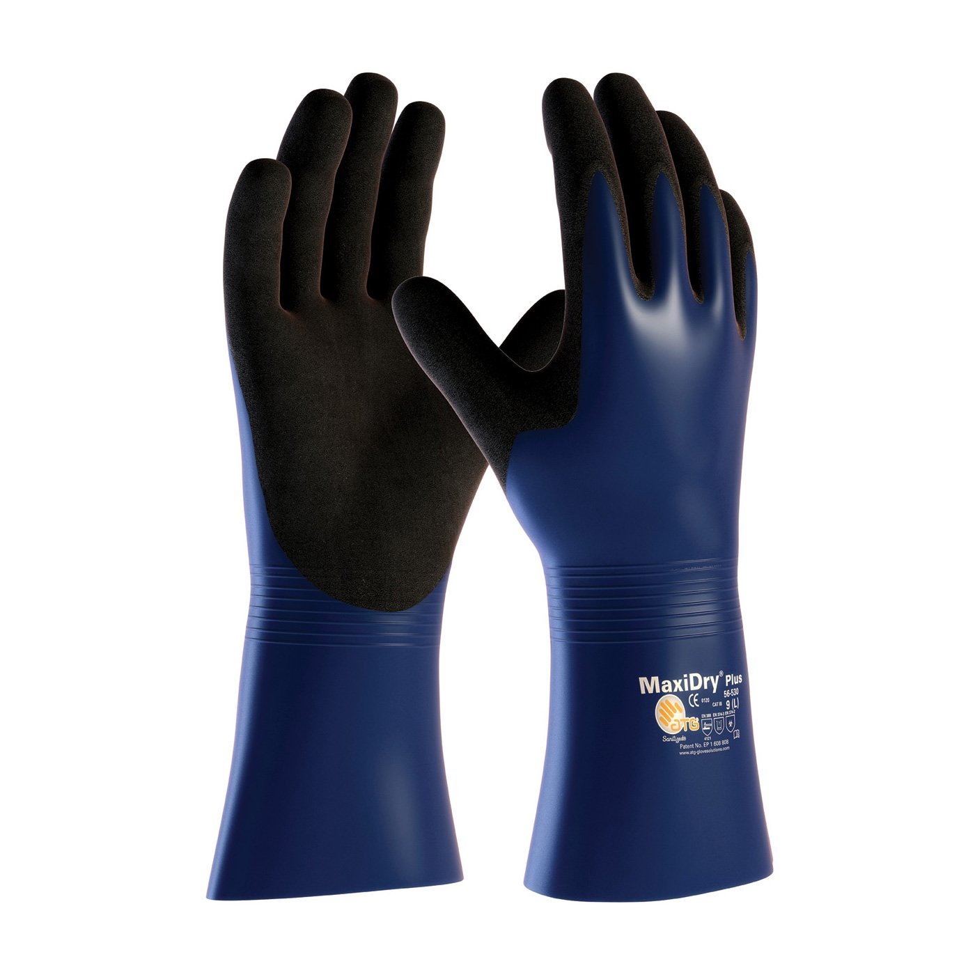 MaxiDry Plus 56-530/XL Nitrile Coated Glove with Nylon/Lycra Liner and Non-Slip Grip on Palm and Fingers
