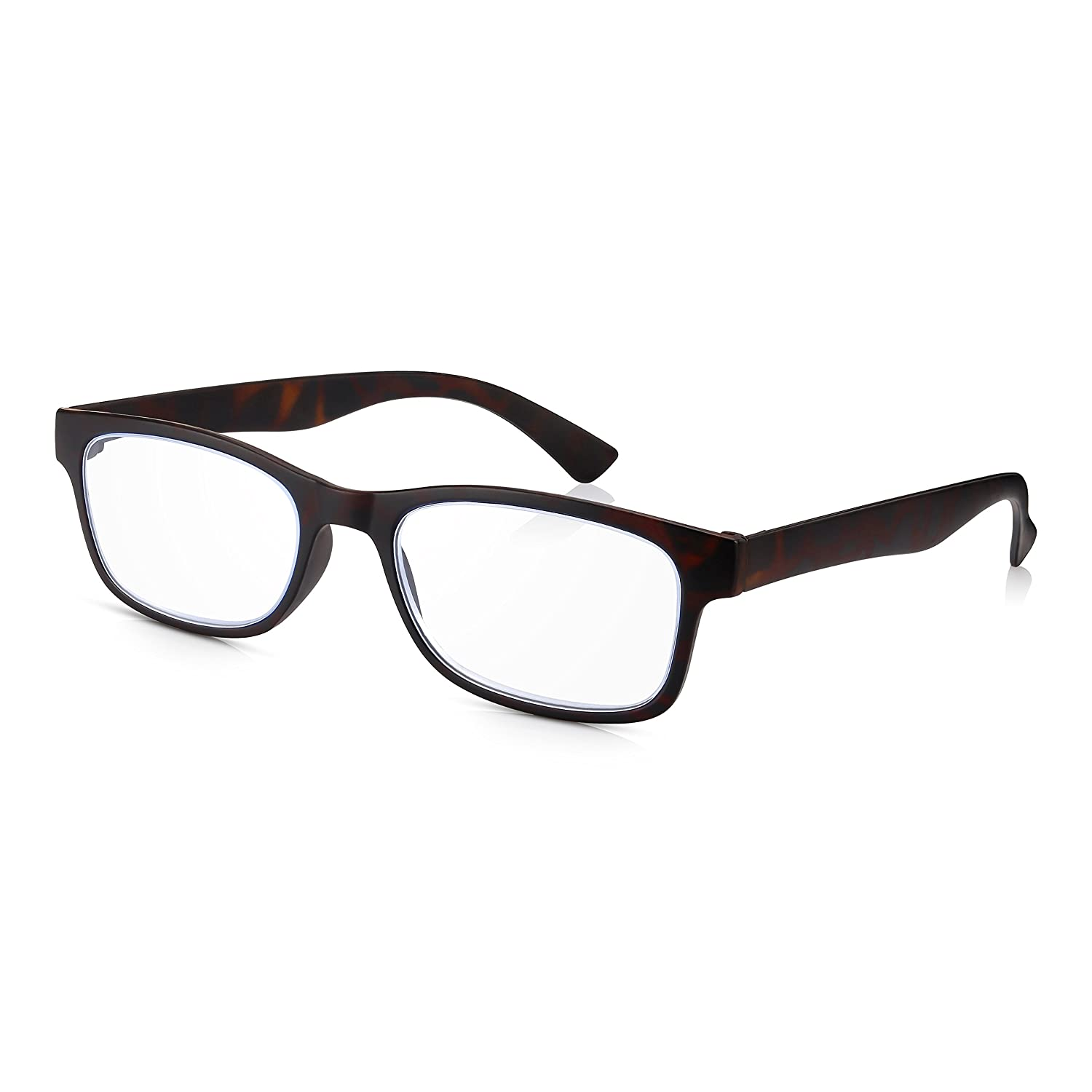 Unbreakable Retro Italian Style Easy Readers in Fashionable Brown Tortoiseshell Thin Read Optics 2 Pack Ladies//Gents Reading Glasses Light and Tough Polycarbonate 1.5 Optical Quality Lenses