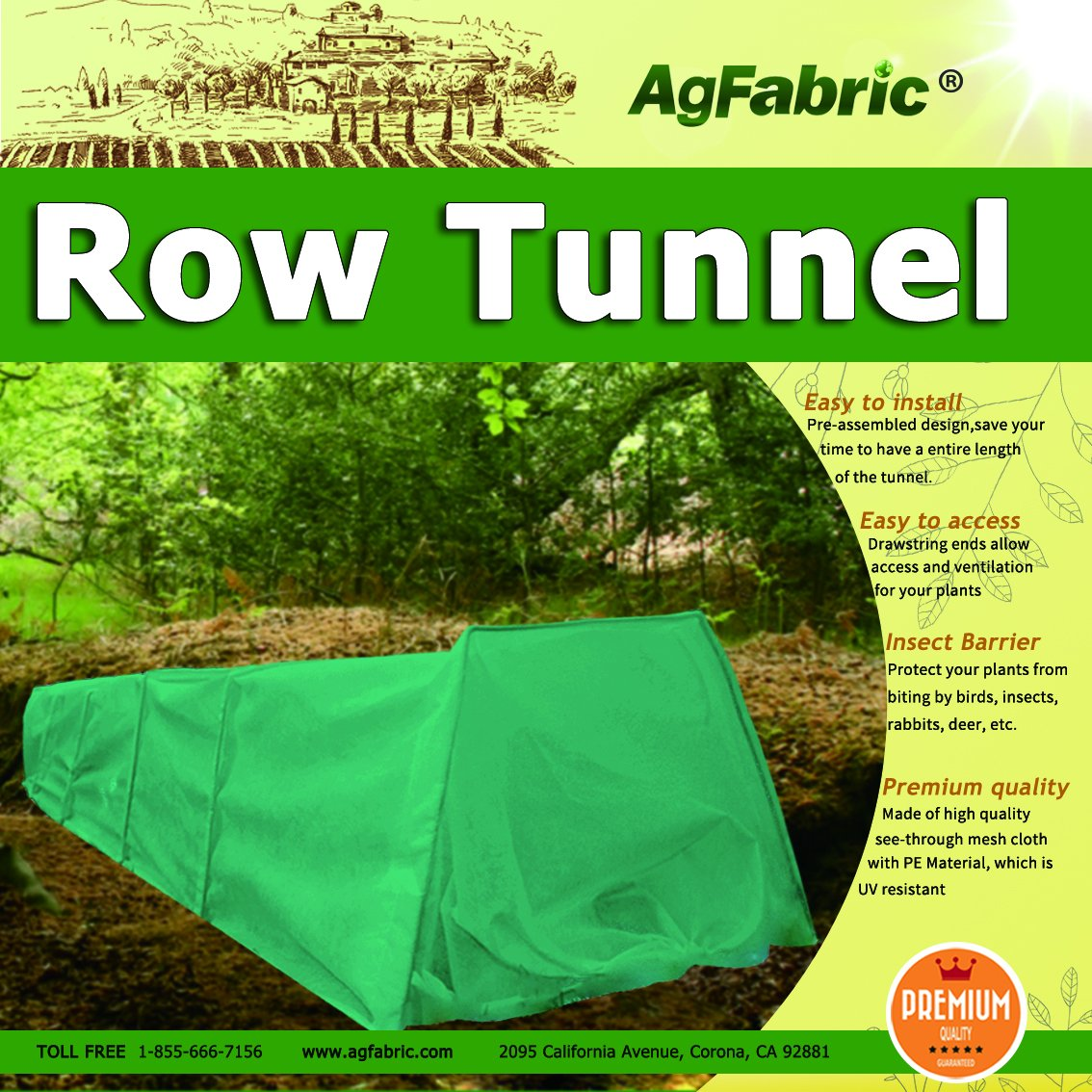 Tunnel Plant Row Cover with Dark Green Fleece Cover Guard Seed Germination & Frost Protection Cover,Plant Cover &Frost Blanket for Season Extension, Medium 10ft Longx 23''Widex15''High