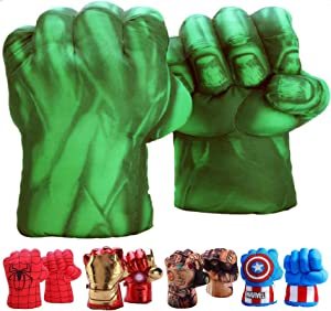 FAIRZOO Hulk Smash Hands Fists Big Soft Plush Gloves Pair Costume Green