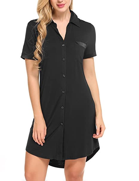 06cd91463b Asatr Women Nightshirt Short Sleeves Pajama Top Boyfriend Sexy Sleep Shirt  Nightie Sleepwear