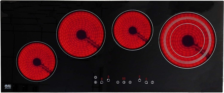 NJ CH-90 Cocina eléctrica de cerámica 4 zonas de cocción 90cm de vidrio incorporado Control táctil Negro: Amazon.es: Grandes electrodomésticos