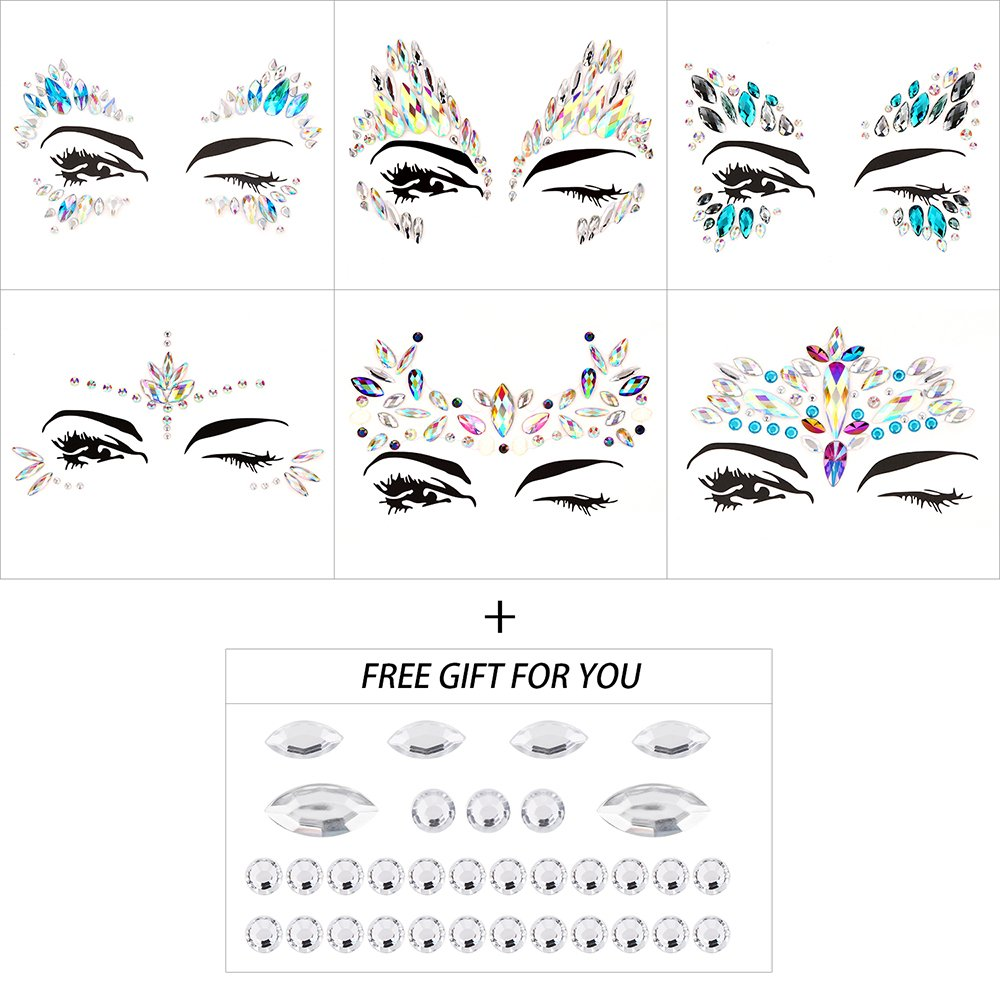 Bling 6 Sets Self-adhesive Mermaid Face Gems Stickers, Rave Festival Face Jewels Crystal Rhinestone Temporary Tattoo Stickers DIY Crafts Gem for Body, Makeup, Festival, Carnival by Bling (Image #5)