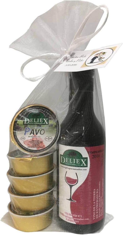 Lote gourmet de vino tinto Extremeño con 5 monodosis de patés variados para invitados (Pack 24 ud)