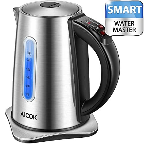 Aicok Electric Kettle 3000W Fast Stainless Steel Tea Kettle with Temperature Settings, 6 Variable Colors Lights, 1.7L