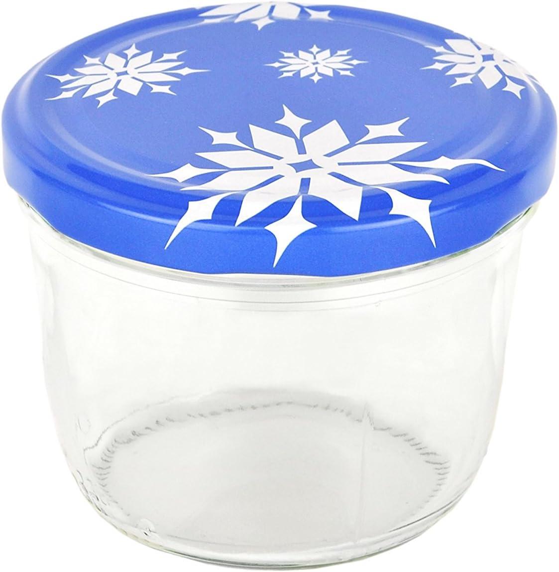Set di vasetti in vetro 230/ML To 82/Coperchi con fiocchi di neve incl Diamante gelier zauber ricettario marmellata conserva