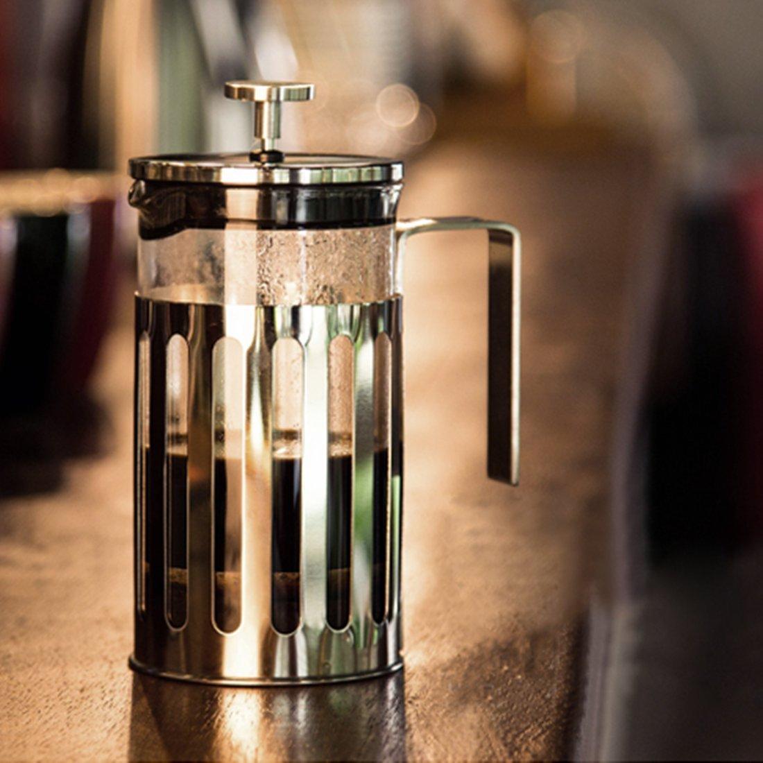 fecihor prensa francesa cafetera eléctrica, cristal de borosilicato - Cafetera - Jarra para café con cucharilla de café de acero inoxidable (350 ml/12oz) ...