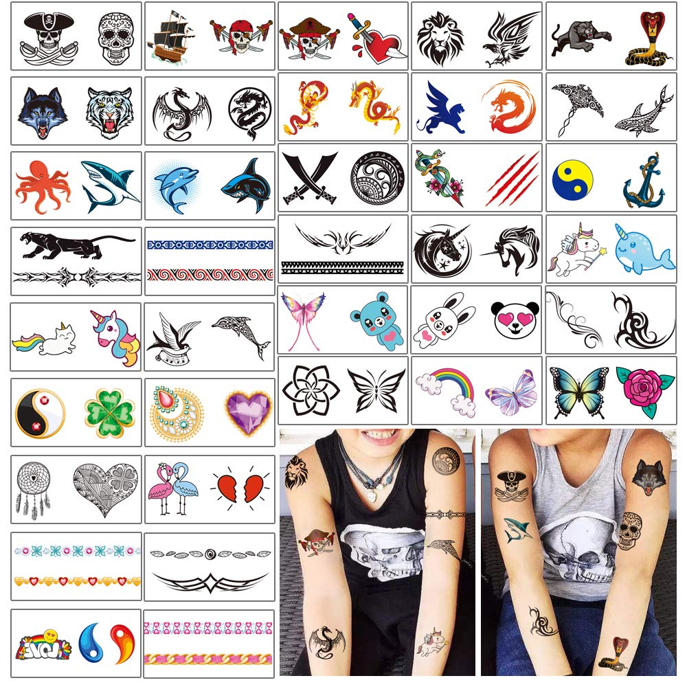 Yazhiji 36 Sheets Temporary Tattoos for Kids Boys Girls Adults Great Party Favors and Decorations