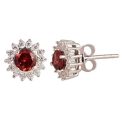 Men womens Stud Earrings jewelry Natural red garnet Gemstone 925 Sterling Silver