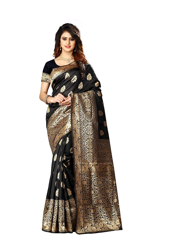 3540cae9eb Amazon.com: Women's Banarasi Saree Indian Wedding Ethnic Sari Unstitch  Blouse PARI 23 (Black): Clothing