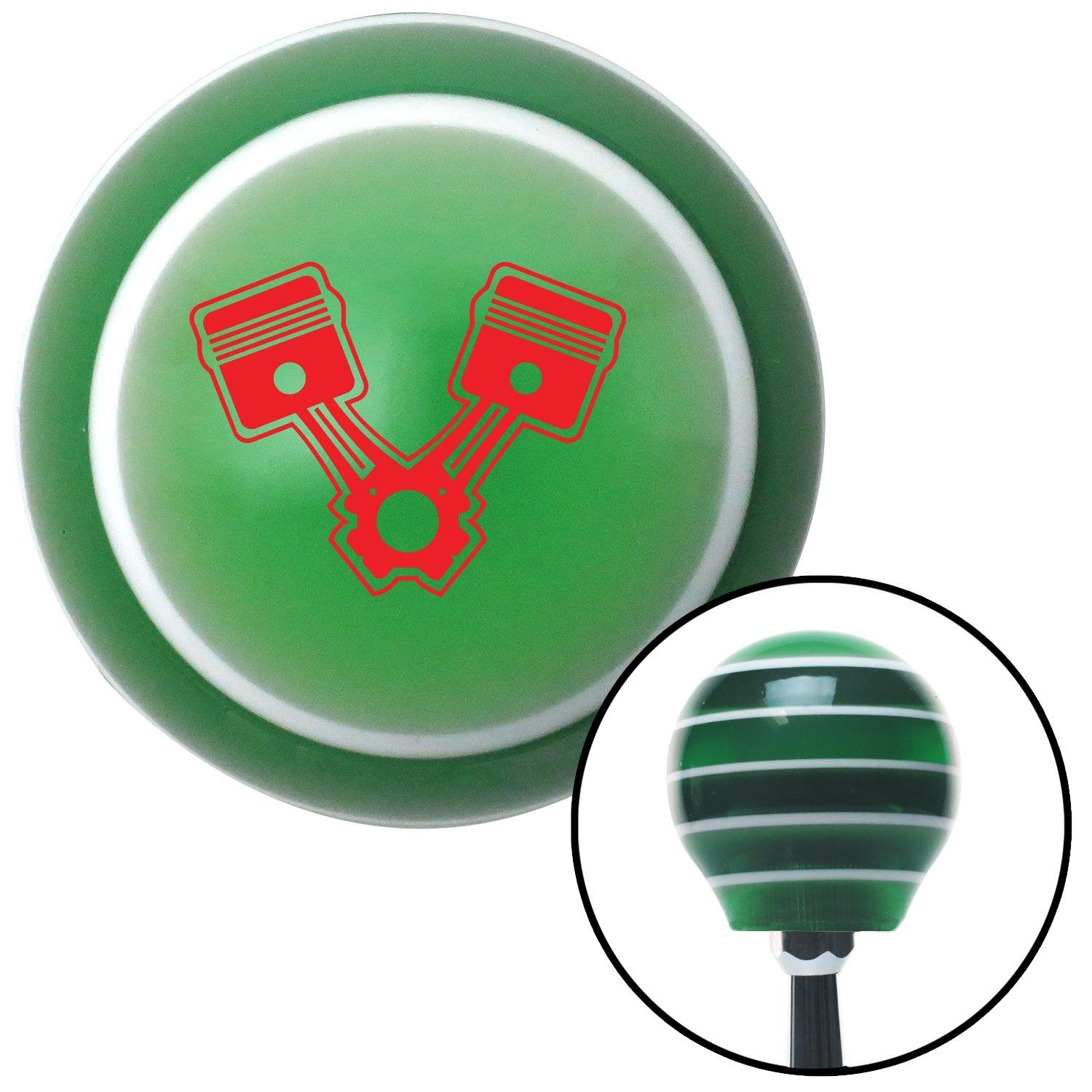 Red 2 Pistons American Shifter 121407 Green Stripe Shift Knob with M16 x 1.5 Insert