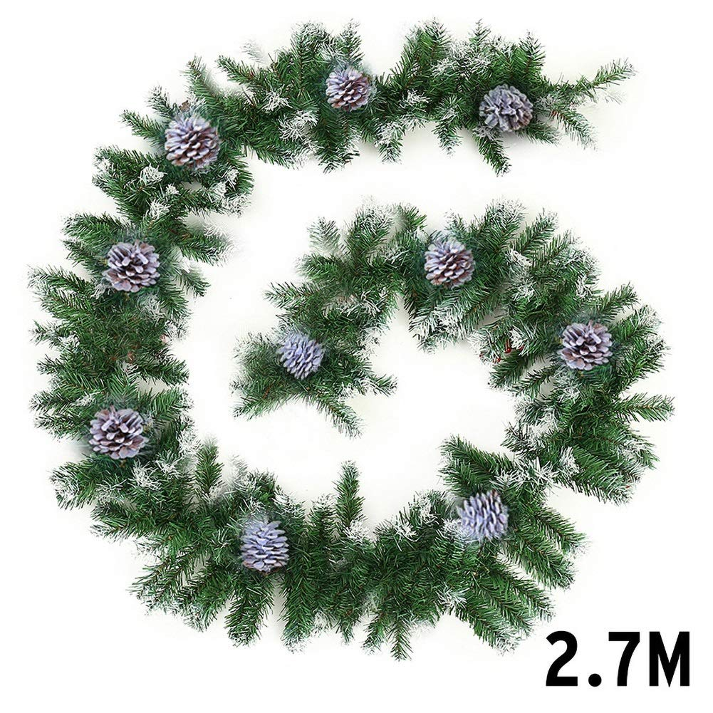 Christmas Garland 2.7M Fireplace Stairs Decoration Wreath with Pine Cones Decor for Xmas Festival Tree