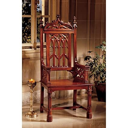 Hand-carved Solid Mahogany Antique Replica Gothic Cathedral Chair - Amazon.com: Hand-carved Solid Mahogany Antique Replica Gothic