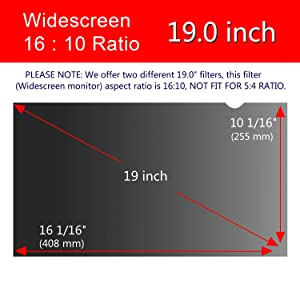 Magicmoon Privacy Filter Screen Protector, Anti-Spy&Glare Film for 19 inch Widescreen Computer Monitor (19'', 16:10 Aspect Ratio) (Tamaño: 19 Widescreen (16:10))