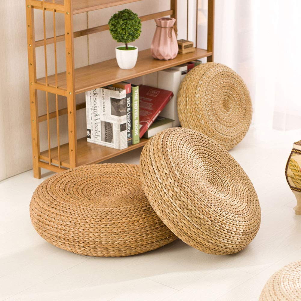 Straw Flat Seat Cushion, Handmade Floor Pouf Mat, Ottoman Footstool, Home Decorative Seat for Living Room, Bedroom by VnHome