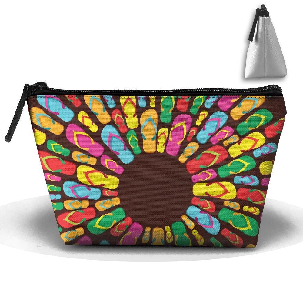 Summer Flip Flops Makeup Bag Large Trapezoidal Storage Travel Bag Wash Cosmetic Pouch Pencil Holder Zipper Waterproof