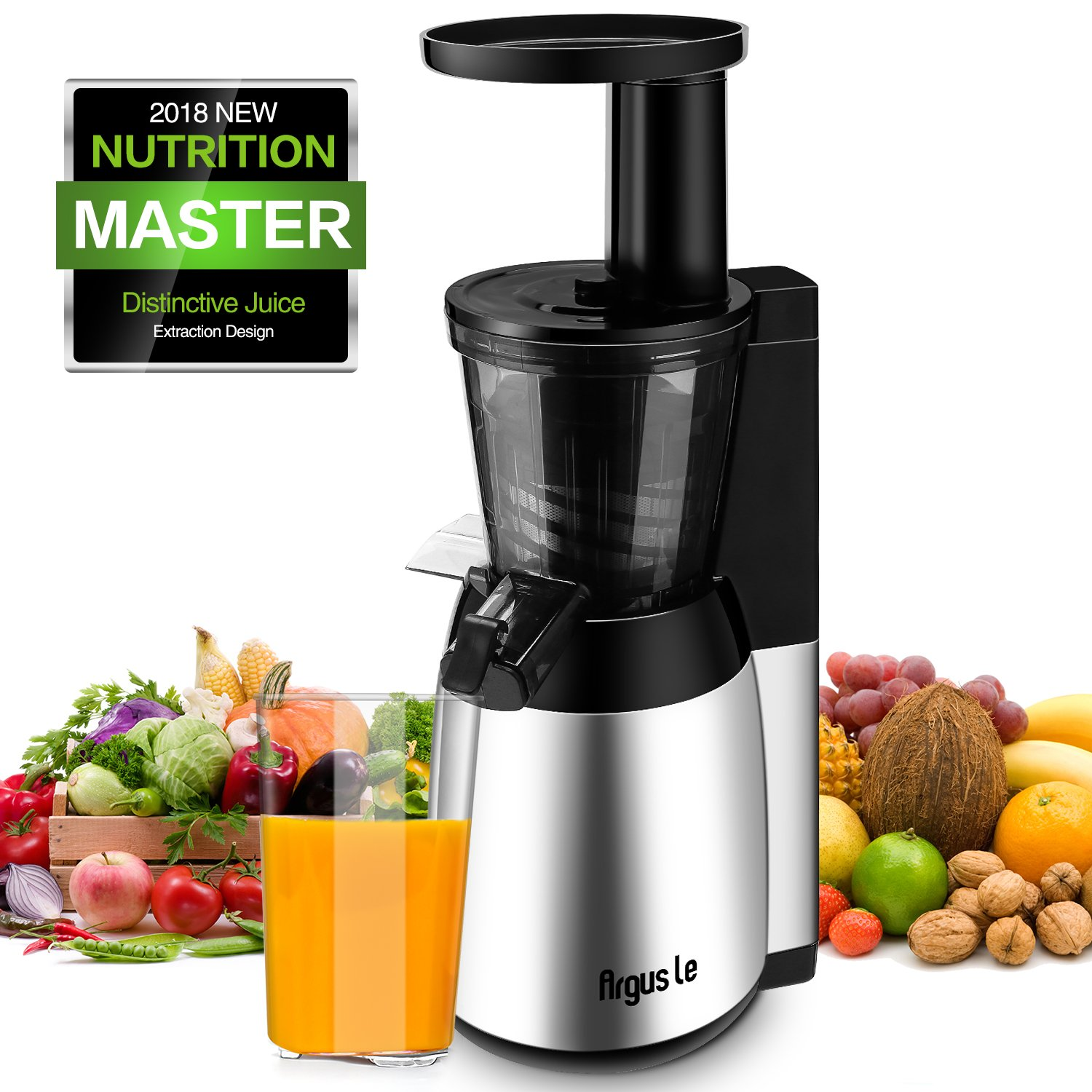 Argus Le Juicer, Slow Masticating Juicer, Quiet and Energy Saving 150W DC Moter, Fruit and Vegetable Juice Extractor with Frozen Fruits Sorbet Filter and Recipe - Silver MEB4000S