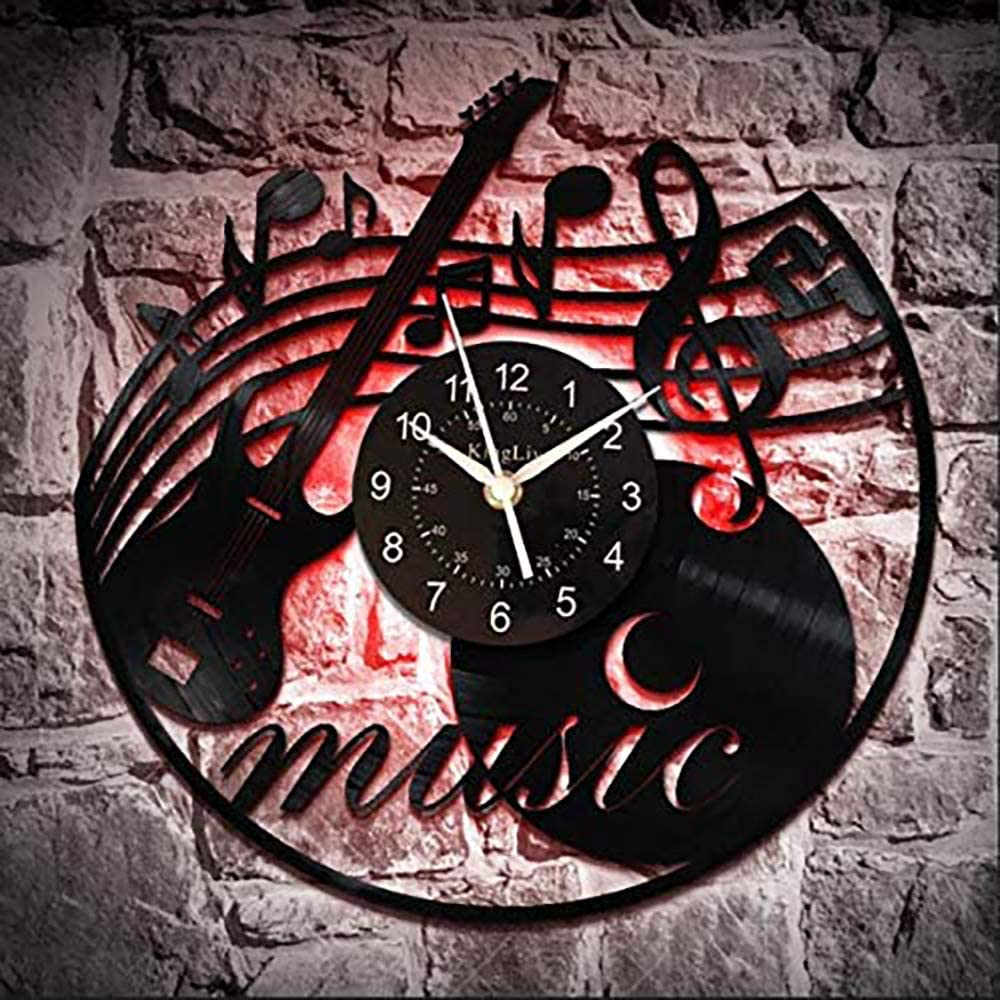 KingLive Music Instrument Black Vinyl Wall Clock 12 Inches(30cm) Home Interior Decor Wall Art Wall Sticker Exclusive Tailoring Design for Music Lovers (Music d)
