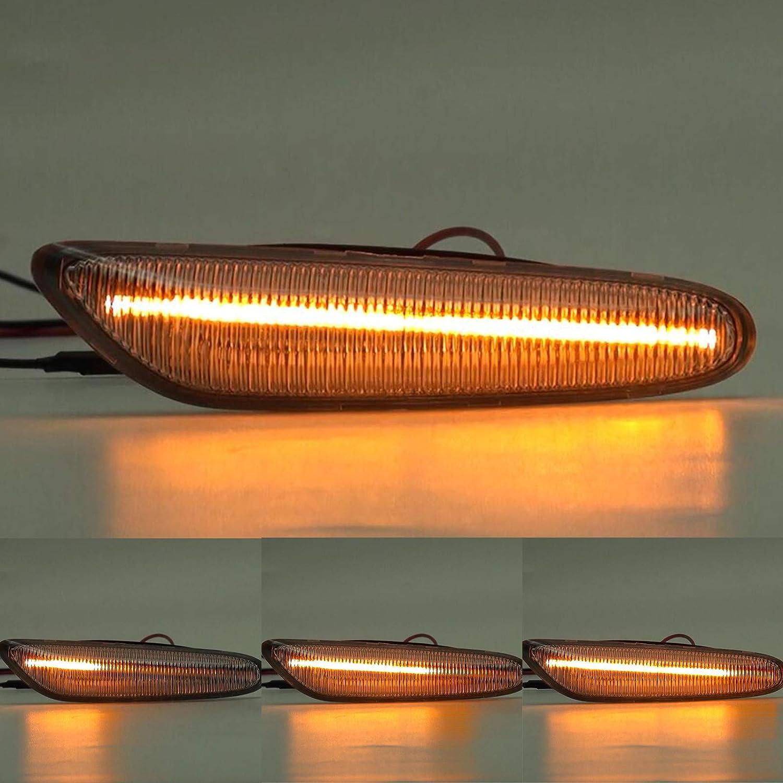 2x LED LUCES INTERMITENTES DINAMICOS LATERALES LENTE AHUMADA REEMPLAZO E36 E46 E53 E83 E84 E90 E91 E92 E93 X1 X3 X5 E4 MOT T/ÜV ITV