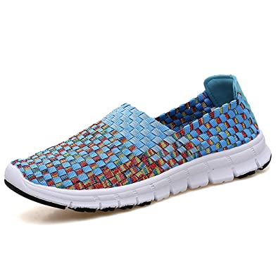 ed72dd67592dc Women Comfort Breathable Woven Sneakers Slip on Flat Walk Shoes Mary ...