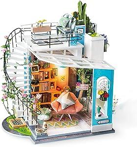 Rolife Dollhouse with Furniture Wooden Miniature House Kit DIY - Dora's Loft