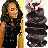 B&F Hair Brazilian Virgin Body Wave Weft 3 Bundles 10-26inch 100% Unprocessed Virgin Human Hair Extensions Natural Color (100+/-5g)/pc (8 10 12)