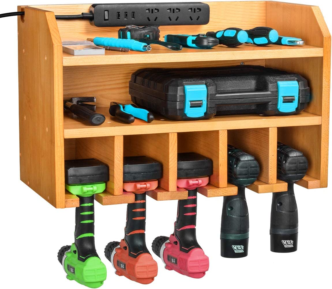 Power Strip is Not Included Sunix Drill Wall Holder Power Tool Organizer with Drawer Wall Mount Tool Garage Storage Power Tool Charging Station