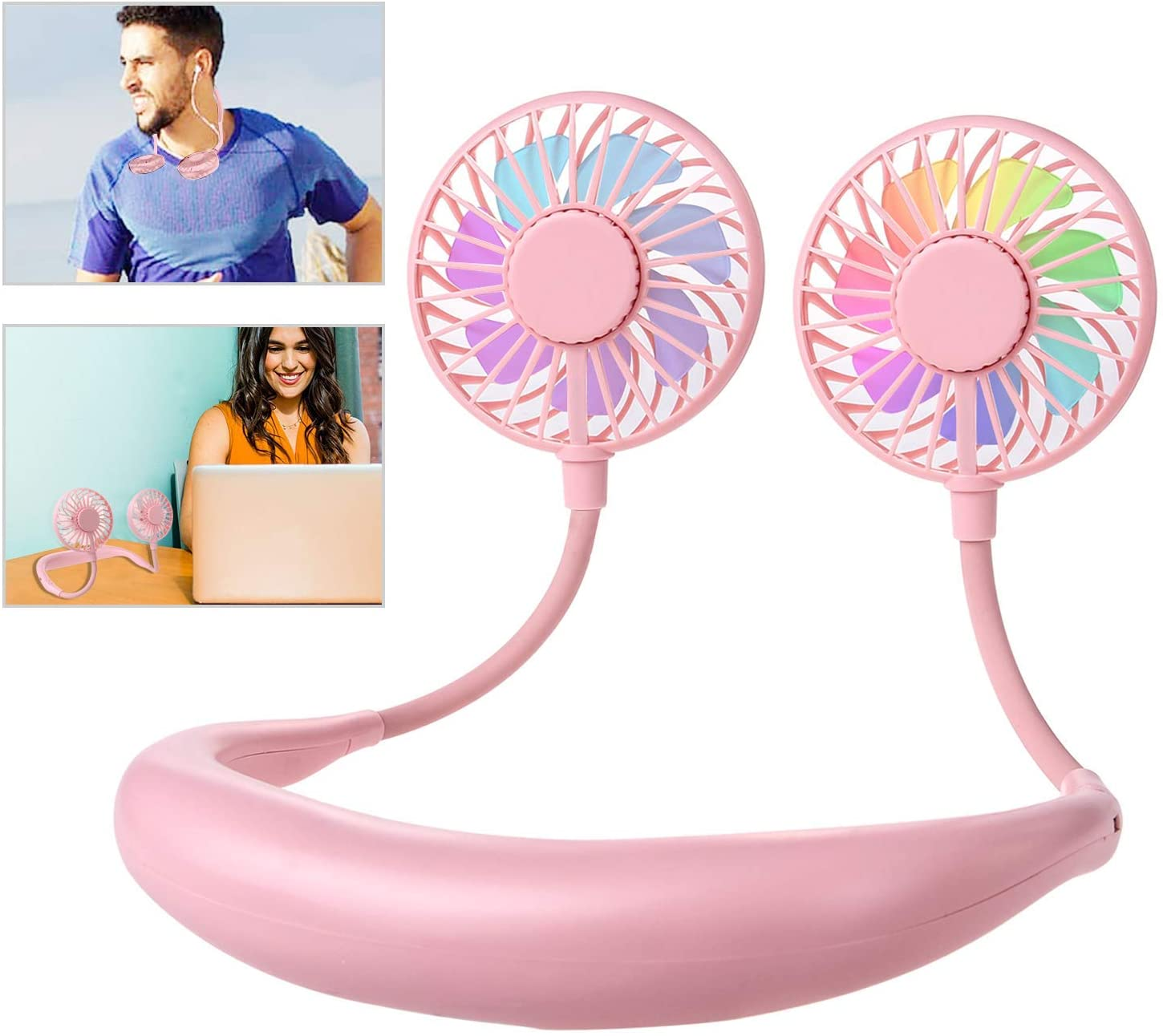 Pink Personal Mini Sport Neckband Fan Rechargeable with 3 Speeds Adjustable and LED Light for Sports Travel Outdoor Office Neck Hanging Fan USB Charging Hand Free Leipple Neck Fan Portable