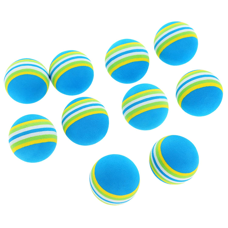10 / 30個レインボーゴルフトレーニングボールトレーニングAidsインドアPractice Sponge Foam 10pcs ブルー B01M6D2KVC