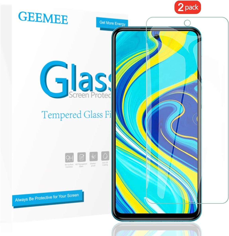 GEEMEE Protector de Pantalla para Xiaomi Redmi Note 9S/ Note 9 Pro/Note 9 Pro MAX, Cristal Templado Película Vidrio Templado 9H Alta Definicion Glass Screen Protector Film - 2 Pack