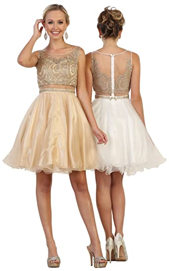 7ed8d8678e7f May Queen by Formal Dress Shops Inc FDS1462 Two Piece Semi Formal Short  Dress (2
